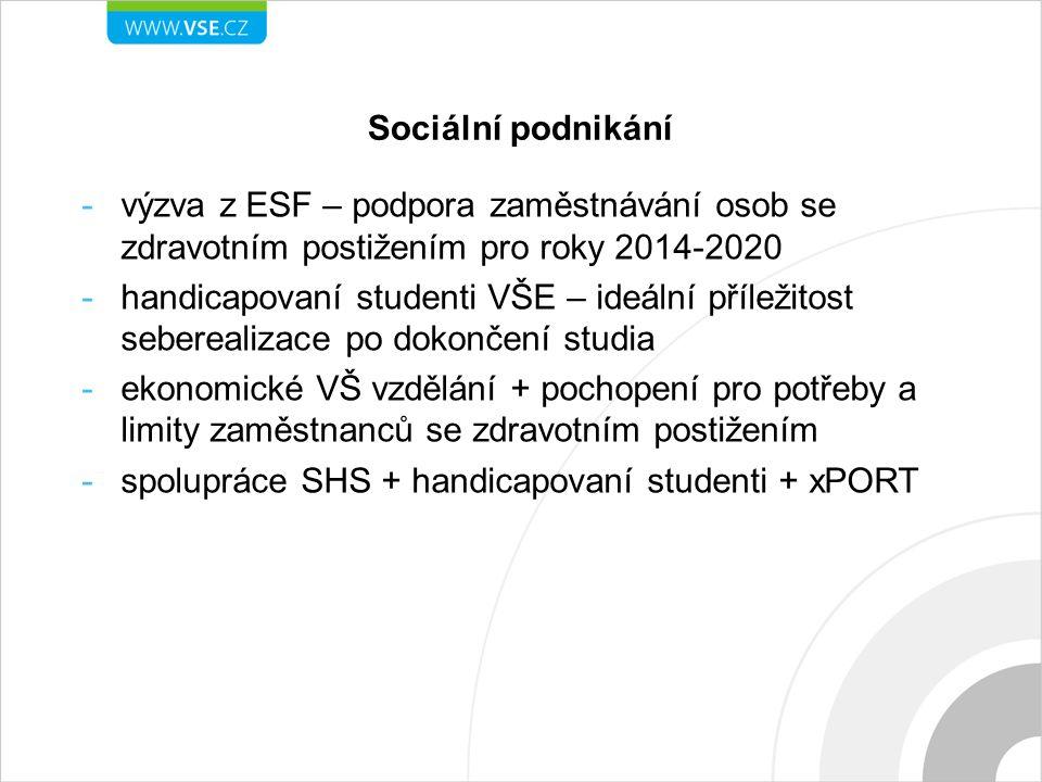 Sociální podnikání -výzva z ESF – podpora zaměstnávání osob se zdravotním postižením pro roky 2014-2020 -handicapovaní studenti VŠE – ideální příležit