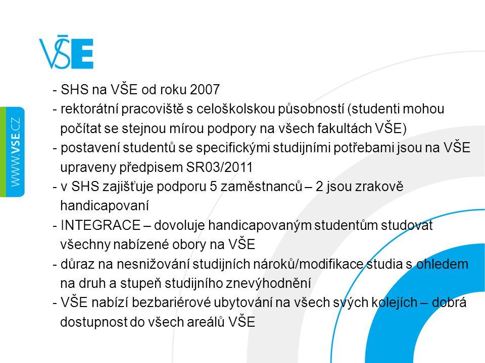 - SHS na VŠE od roku 2007 - rektorátní pracoviště s celoškolskou působností (studenti mohou počítat se stejnou mírou podpory na všech fakultách VŠE) -
