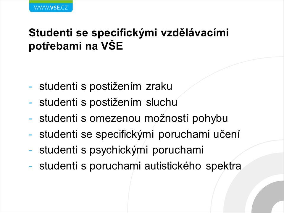 -studenti s postižením zraku -studenti s postižením sluchu -studenti s omezenou možností pohybu -studenti se specifickými poruchami učení -studenti s
