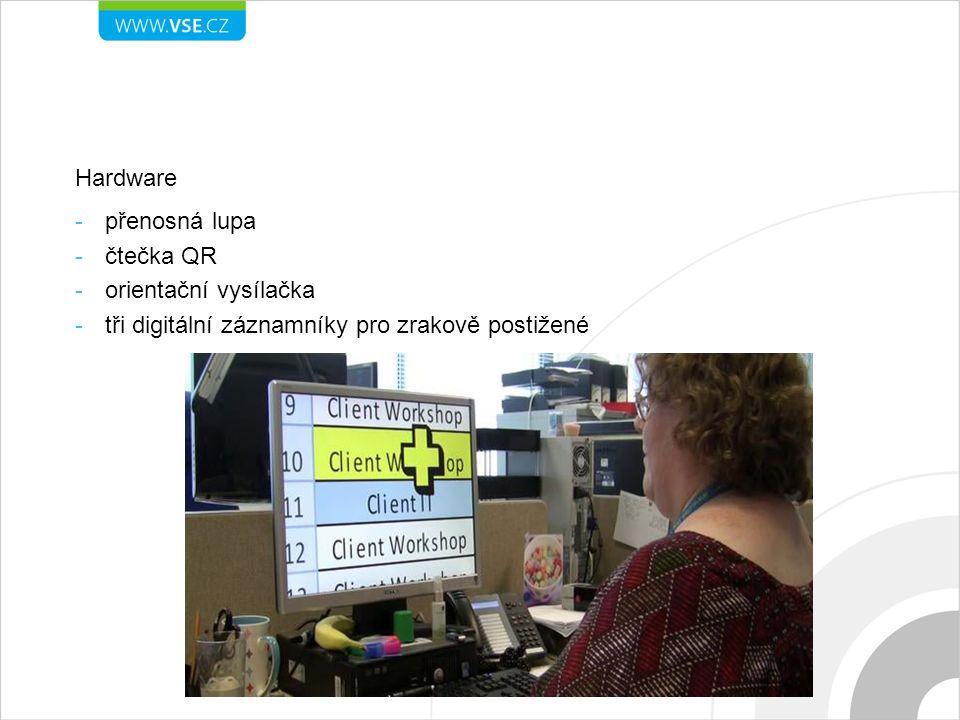 Hardware -přenosná lupa -čtečka QR -orientační vysílačka -tři digitální záznamníky pro zrakově postižené