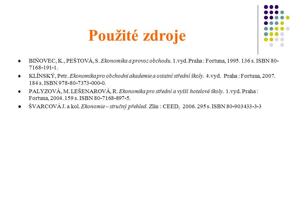 Použité zdroje BIŇOVEC, K., PEŠTOVÁ, S. Ekonomika a provoz obchodu. 1.vyd. Praha : Fortuna, 1995. 136 s. ISBN 80- 7168-191-1. KLÍNSKÝ, Petr. Ekonomika