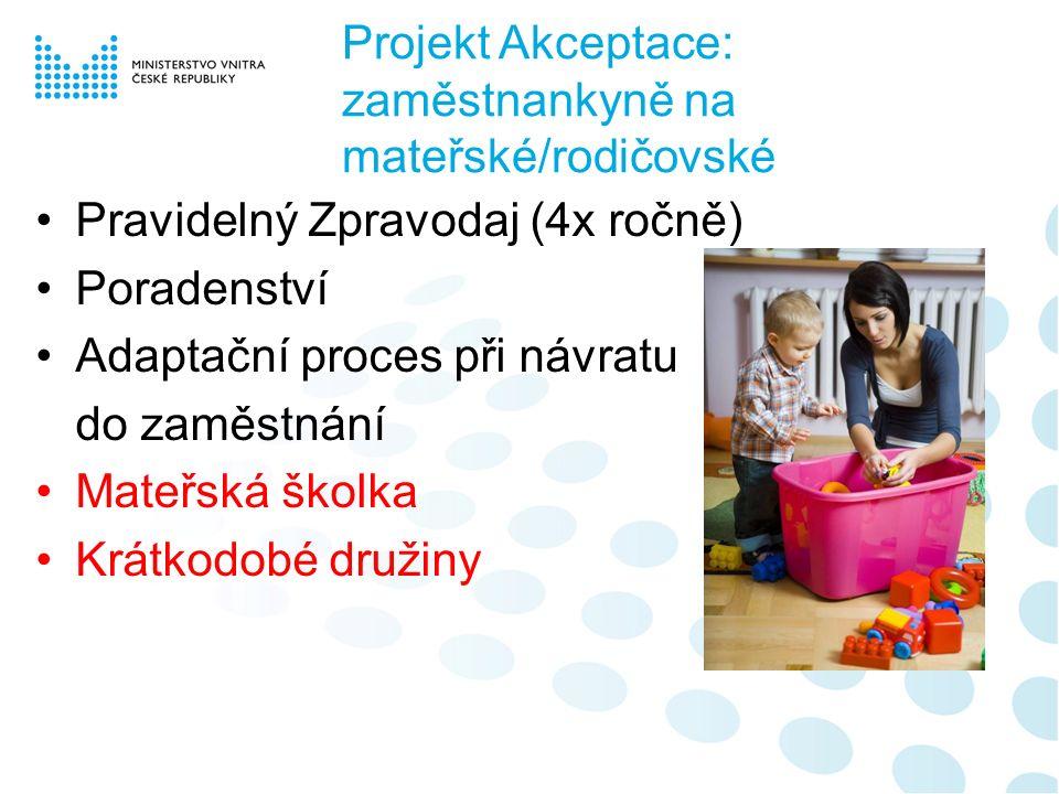 Projekt Akceptace: zaměstnankyně na mateřské/rodičovské Pravidelný Zpravodaj (4x ročně) Poradenství Adaptační proces při návratu do zaměstnání Mateřská školka Krátkodobé družiny