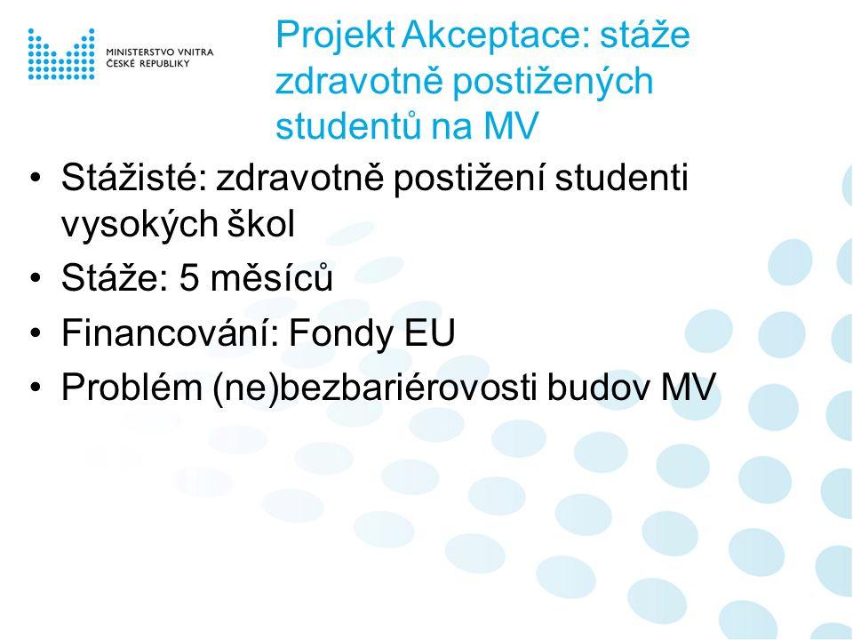 Projekt Akceptace: stáže zdravotně postižených studentů na MV Stážisté: zdravotně postižení studenti vysokých škol Stáže: 5 měsíců Financování: Fondy EU Problém (ne)bezbariérovosti budov MV
