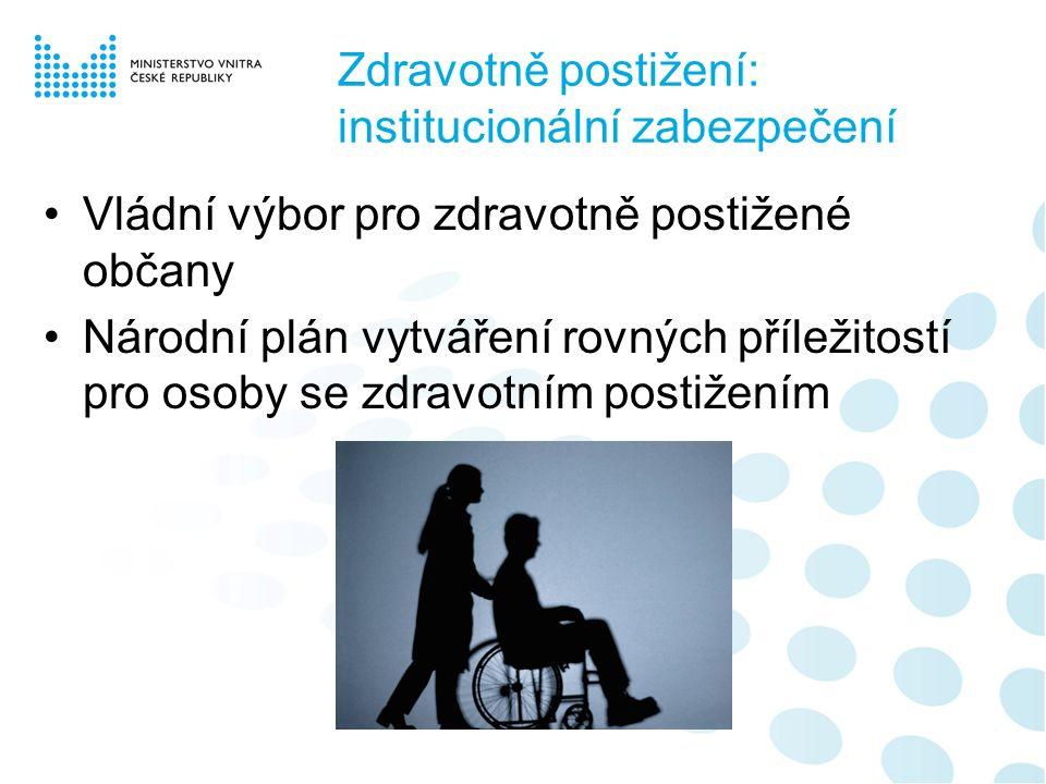Zdravotně postižení: institucionální zabezpečení Vládní výbor pro zdravotně postižené občany Národní plán vytváření rovných příležitostí pro osoby se zdravotním postižením