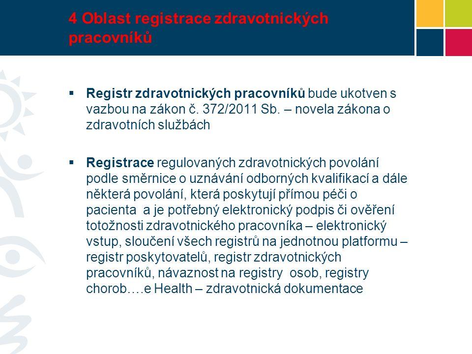 4 Oblast registrace zdravotnických pracovníků  Registr zdravotnických pracovníků bude ukotven s vazbou na zákon č.