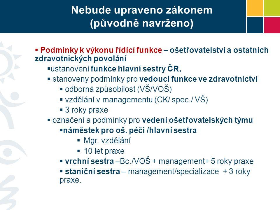 Nebude upraveno zákonem (původně navrženo)  Podmínky k výkonu řídící funkce – ošetřovatelství a ostatních zdravotnických povolání  ustanovení funkce hlavní sestry ČR,  stanoveny podmínky pro vedoucí funkce ve zdravotnictví  odborná způsobilost (VŠ/VOŠ)  vzdělání v managementu (CK/ spec./ VŠ)  3 roky praxe  označení a podmínky pro vedení ošetřovatelských týmů  náměstek pro oš.