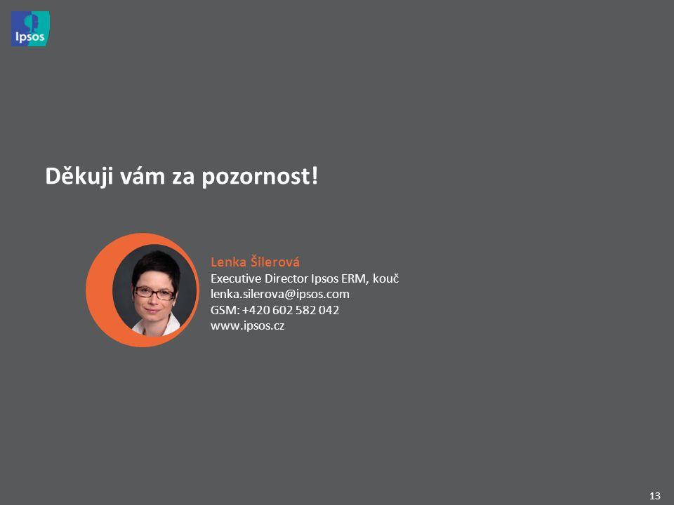 13 Děkuji vám za pozornost! Lenka Šilerová Executive Director Ipsos ERM, kouč lenka.silerova@ipsos.com GSM: +420 602 582 042 www.ipsos.cz