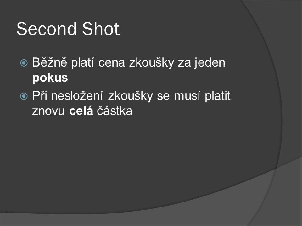 Second Shot  Běžně platí cena zkoušky za jeden pokus  Při nesložení zkoušky se musí platit znovu celá částka