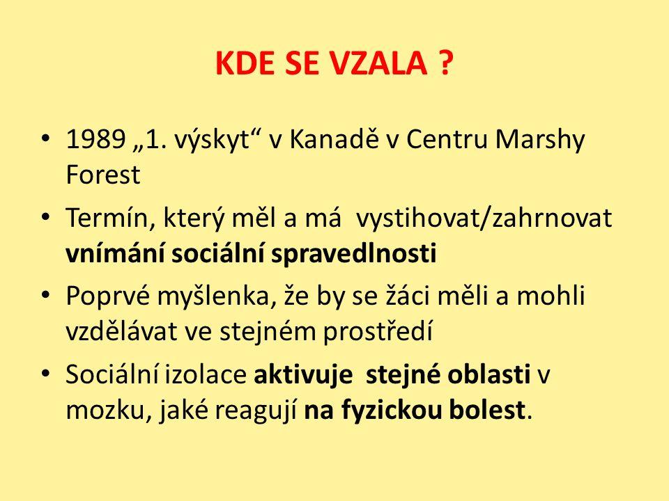 """KDE SE VZALA ? 1989 """"1. výskyt"""" v Kanadě v Centru Marshy Forest Termín, který měl a má vystihovat/zahrnovat vnímání sociální spravedlnosti Poprvé myšl"""