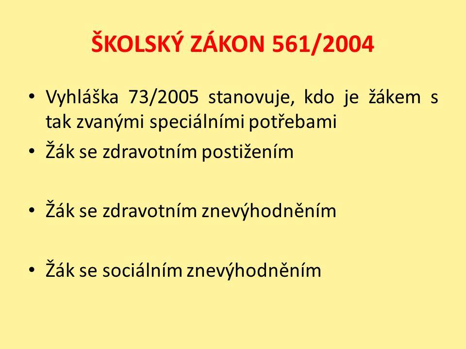 ŠKOLSKÝ ZÁKON 561/2004 Vyhláška 73/2005 stanovuje, kdo je žákem s tak zvanými speciálními potřebami Žák se zdravotním postižením Žák se zdravotním znevýhodněním Žák se sociálním znevýhodněním