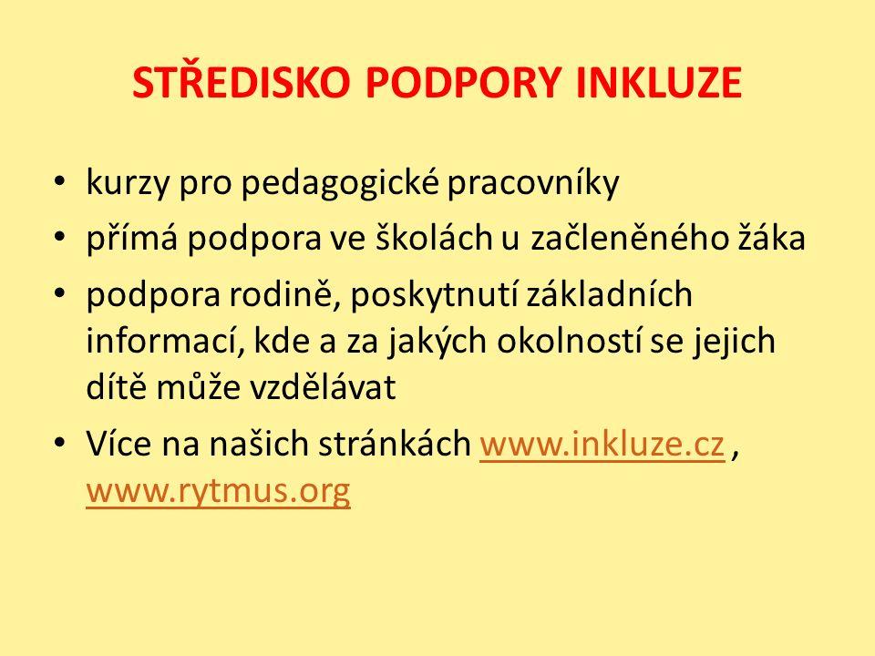 STŘEDISKO PODPORY INKLUZE kurzy pro pedagogické pracovníky přímá podpora ve školách u začleněného žáka podpora rodině, poskytnutí základních informací, kde a za jakých okolností se jejich dítě může vzdělávat Více na našich stránkách www.inkluze.cz, www.rytmus.orgwww.inkluze.cz www.rytmus.org