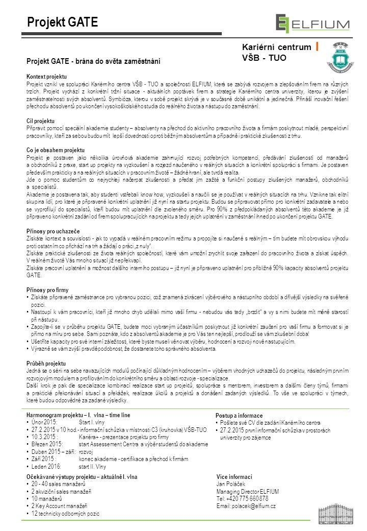 Harmonogram projektu – I. vlna – time line Únor 2015: Start I. vlny 27.2.2015 v 10 hod.- informační schůzka v místnosti C3 (kruhovka) VŠB-TUO 10.3.201