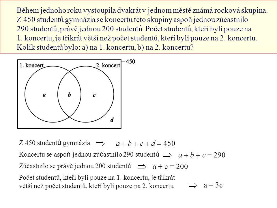 Dosadíme z (2) do (1): 290 + d = 450 ⇒ d =160 Dosadíme z (3) do (2): 200 + b = 290 ⇒ b = 90 Dosadíme z (4) do (3): 3c + c = 200 ⇒ c = 50 Dosadímev do (4): a = 3c =150 Na prvním koncertu bylo 240 studentů (množiny a a b).