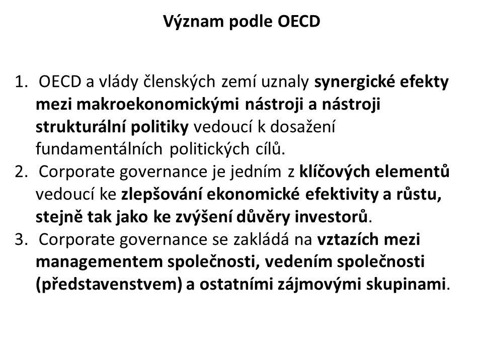 Význam podle OECD 1.OECD a vlády členských zemí uznaly synergické efekty mezi makroekonomickými nástroji a nástroji strukturální politiky vedoucí k do