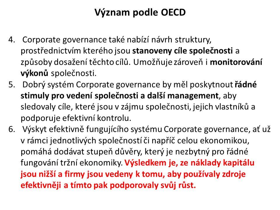Význam podle OECD 4.Corporate governance také nabízí návrh struktury, prostřednictvím kterého jsou stanoveny cíle společnosti a způsoby dosažení těcht