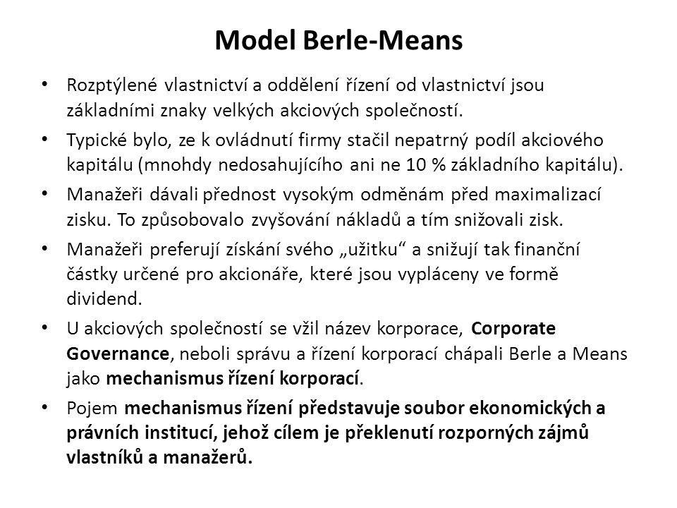 Model Berle-Means Rozptýlené vlastnictví a oddělení řízení od vlastnictví jsou základními znaky velkých akciových společností. Typické bylo, ze k ovlá