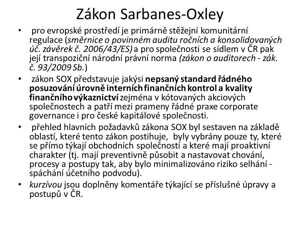 Zákon Sarbanes-Oxley pro evropské prostředí je primárně stěžejní komunitární regulace (směrnice o povinném auditu ročních a konsolidovaných úč. závěre