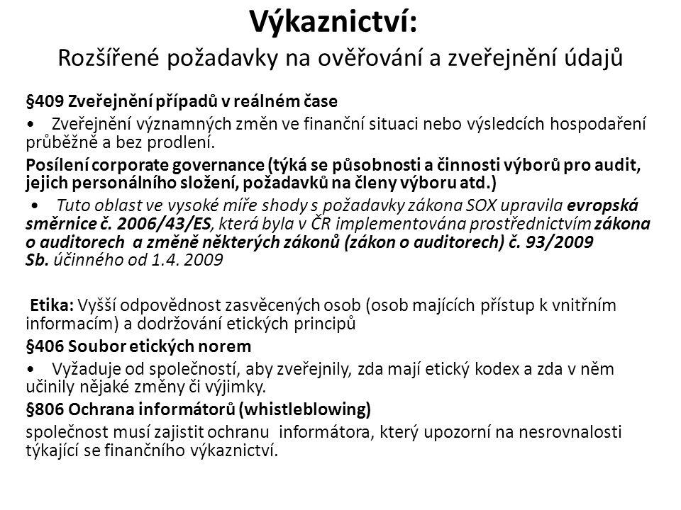 Výkaznictví: Rozšířené požadavky na ověřování a zveřejnění údajů §409 Zveřejnění případů v reálném čase Zveřejnění významných změn ve finanční situaci