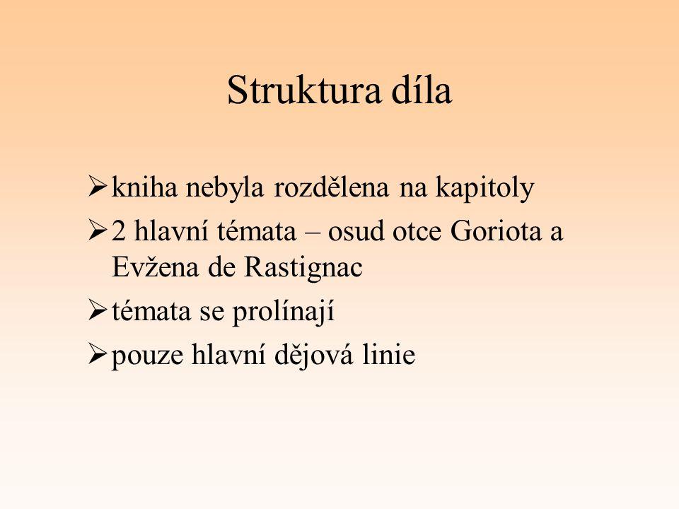 Struktura díla  kniha nebyla rozdělena na kapitoly  2 hlavní témata – osud otce Goriota a Evžena de Rastignac  témata se prolínají  pouze hlavní d