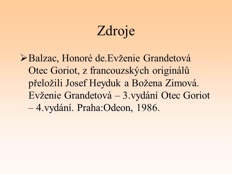 Zdroje  Balzac, Honoré de.Evženie Grandetová Otec Goriot, z francouzských originálů přeložili Josef Heyduk a Božena Zimová.