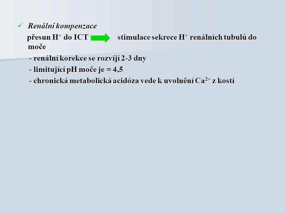 Renální kompenzace Renální kompenzace přesun H + do ICT stimulace sekrece H + renálních tubulů do moče přesun H + do ICT stimulace sekrece H + renálních tubulů do moče - renální korekce se rozvíjí 2-3 dny - renální korekce se rozvíjí 2-3 dny - limitující pH moče je = 4,5 - limitující pH moče je = 4,5 - chronická metabolická acidóza vede k uvolnění Ca 2+ z kostí - chronická metabolická acidóza vede k uvolnění Ca 2+ z kostí