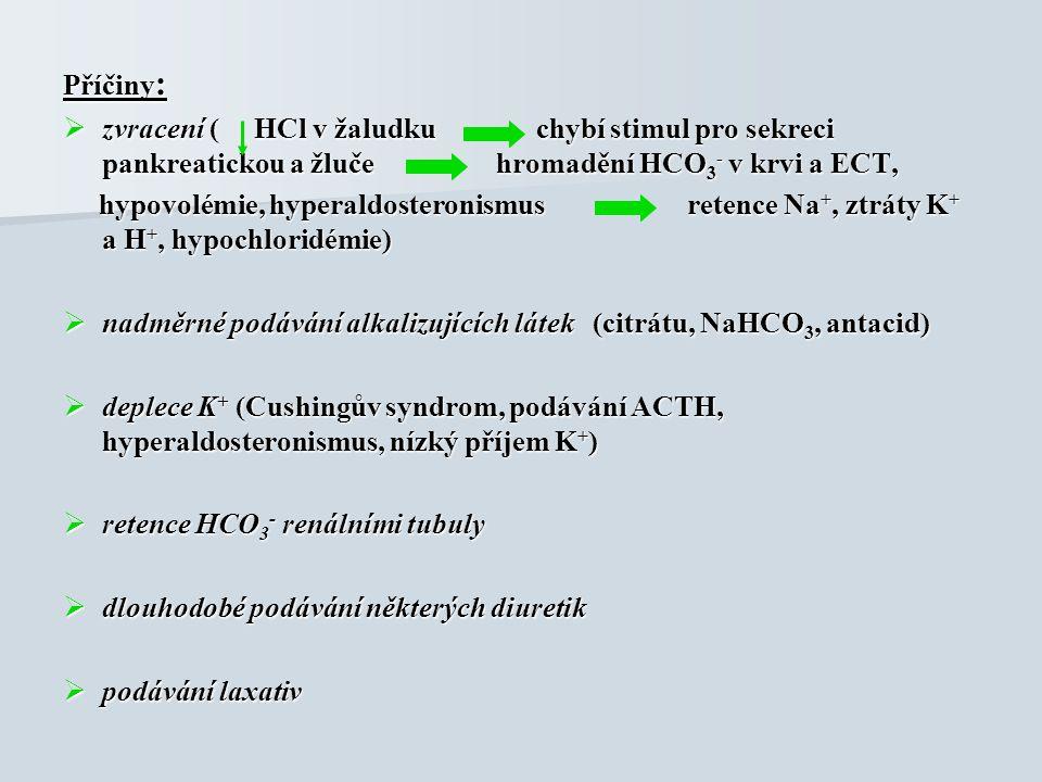 Příčiny :  zvracení ( HCl v žaludku chybí stimul pro sekreci pankreatickou a žluče hromadění HCO 3 - v krvi a ECT, hypovolémie, hyperaldosteronismus