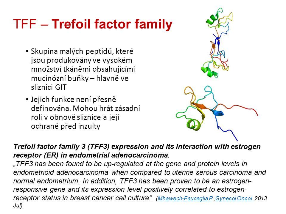 TFF – Trefoil factor family Skupina malých peptidů, které jsou produkovány ve vysokém množství tkáněmi obsahujícími mucinózní buňky – hlavně ve sliznici GIT Jejich funkce není přesně definována.