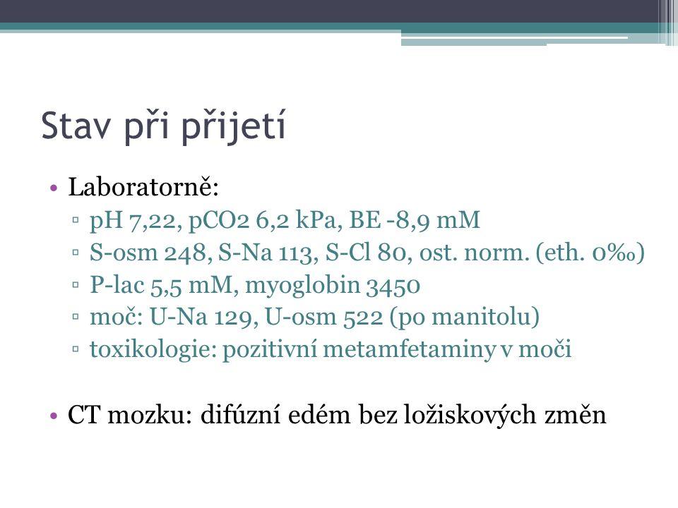 Stav při přijetí Laboratorně: ▫pH 7,22, pCO2 6,2 kPa, BE -8,9 mM ▫S-osm 248, S-Na 113, S-Cl 80, ost. norm. (eth. 0‰) ▫P-lac 5,5 mM, myoglobin 3450 ▫mo