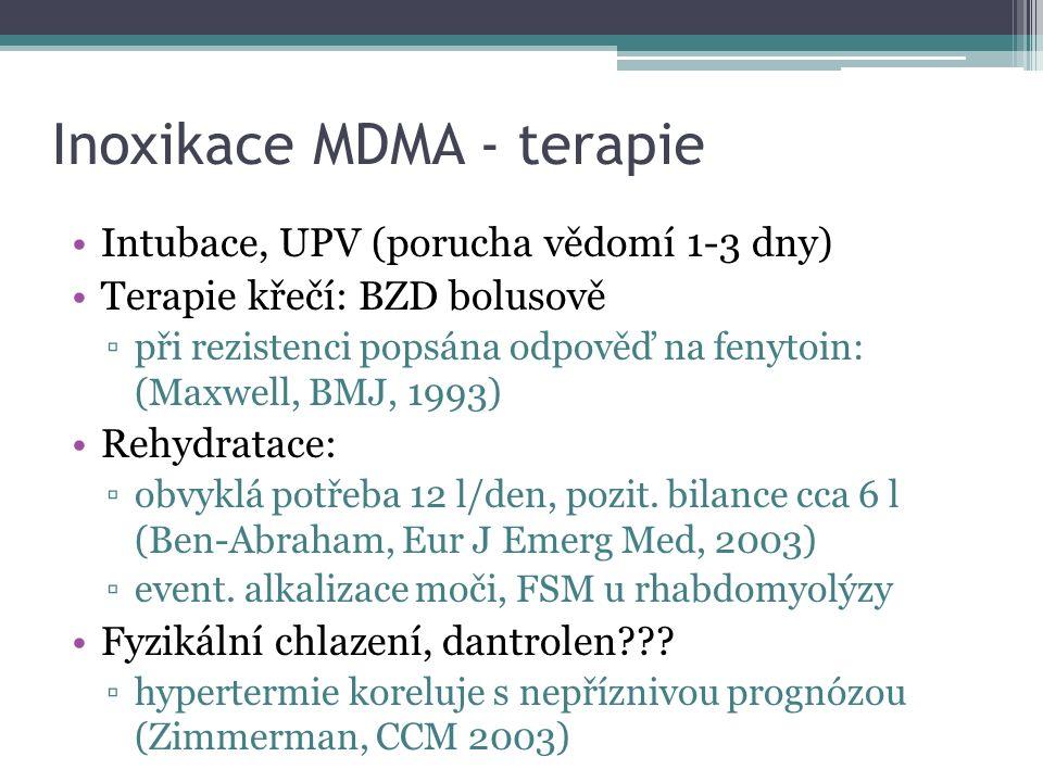 Inoxikace MDMA - terapie Intubace, UPV (porucha vědomí 1-3 dny) Terapie křečí: BZD bolusově ▫při rezistenci popsána odpověď na fenytoin: (Maxwell, BMJ, 1993) Rehydratace: ▫obvyklá potřeba 12 l/den, pozit.