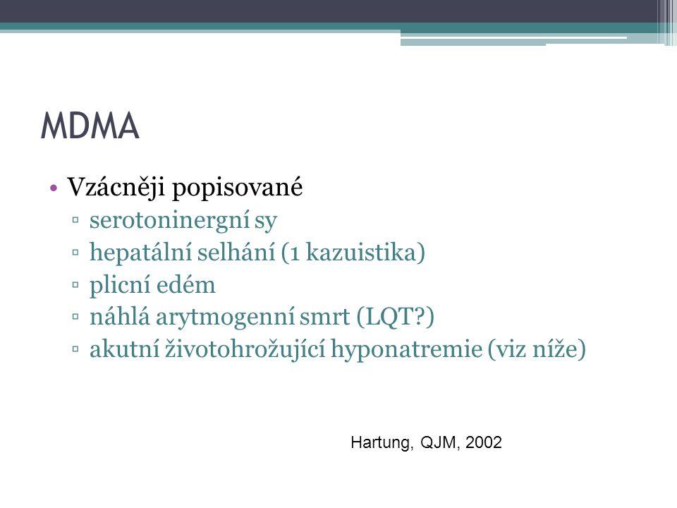 MDMA Vzácněji popisované ▫serotoninergní sy ▫hepatální selhání (1 kazuistika) ▫plicní edém ▫náhlá arytmogenní smrt (LQT ) ▫akutní životohrožující hyponatremie (viz níže) Hartung, QJM, 2002