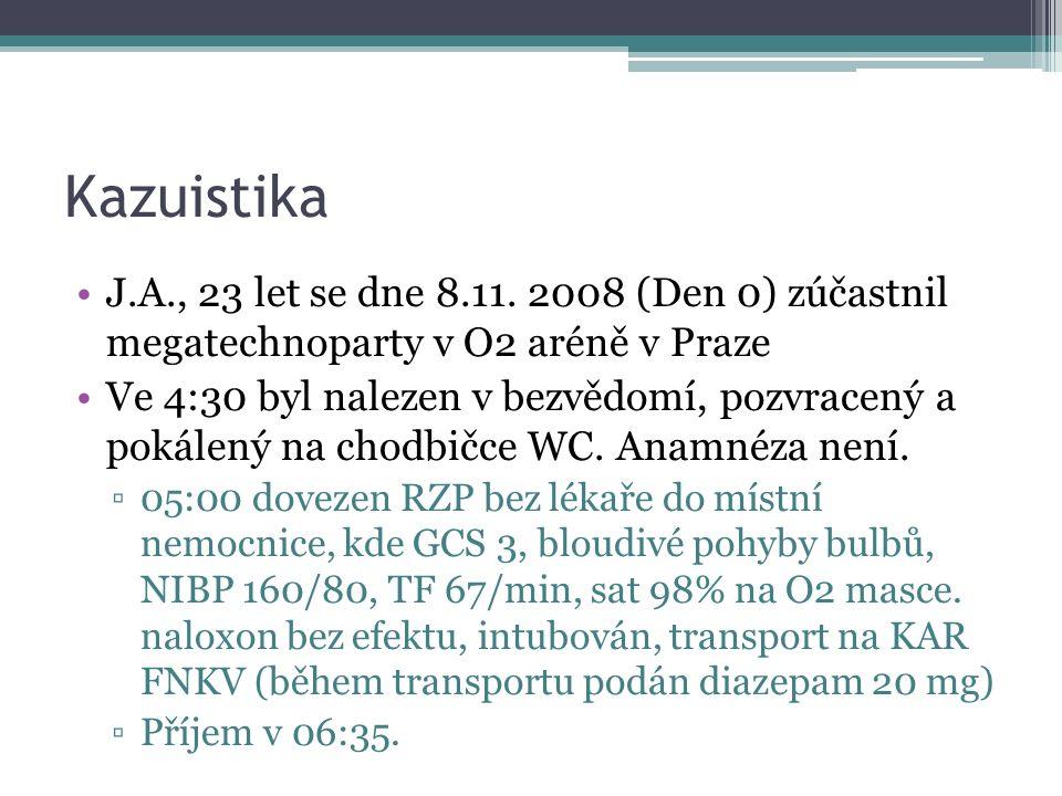 Kazuistika J.A., 23 let se dne 8.11. 2008 (Den 0) zúčastnil megatechnoparty v O2 aréně v Praze Ve 4:30 byl nalezen v bezvědomí, pozvracený a pokálený