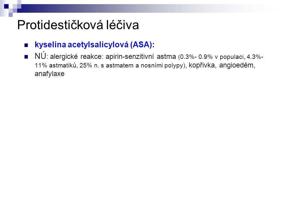 Protidestičková léčiva kyselina acetylsalicylová (ASA): NÚ : alergické reakce: apirin-senzitivní astma (0.3%- 0.9% v populaci, 4.3%- 11% astmatiků, 25% n.
