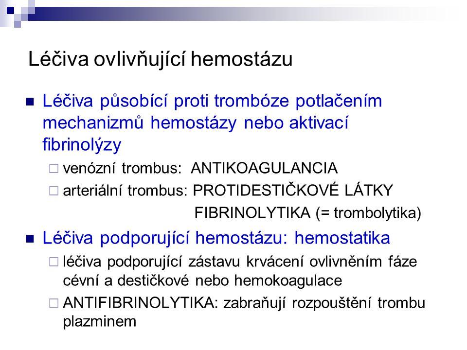 Léčiva ovlivňující hemostázu Léčiva působící proti trombóze potlačením mechanizmů hemostázy nebo aktivací fibrinolýzy  venózní trombus: ANTIKOAGULANCIA  arteriální trombus: PROTIDESTIČKOVÉ LÁTKY FIBRINOLYTIKA (= trombolytika) Léčiva podporující hemostázu: hemostatika  léčiva podporující zástavu krvácení ovlivněním fáze cévní a destičkové nebo hemokoagulace  ANTIFIBRINOLYTIKA: zabraňují rozpouštění trombu plazminem