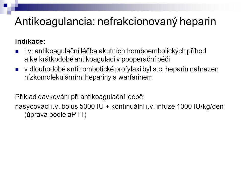 Antikoagulancia: nefrakcionovaný heparin Indikace: i.v.
