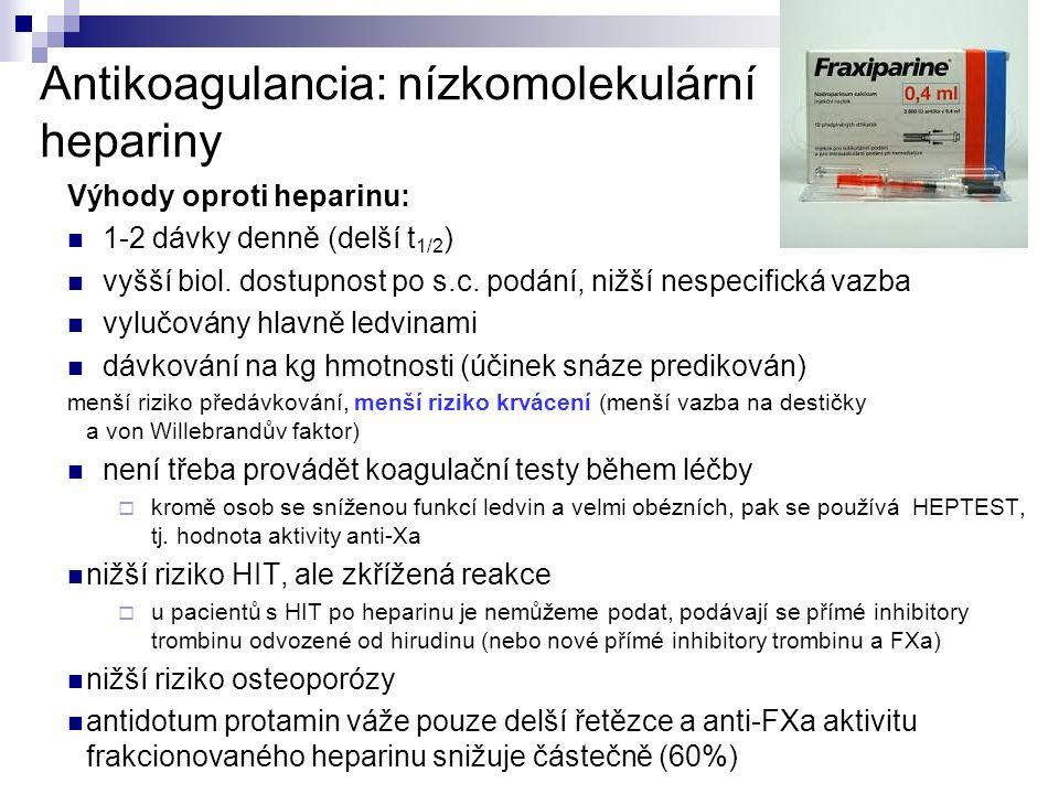 Antikoagulancia: nízkomolekulární hepariny Výhody oproti heparinu: 1-2 dávky denně (delší t 1/2 ) vyšší biol.