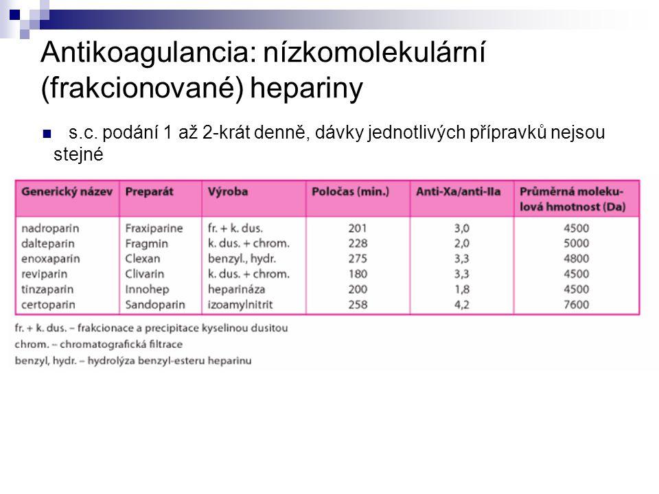 Antikoagulancia: nízkomolekulární (frakcionované) hepariny s.c.