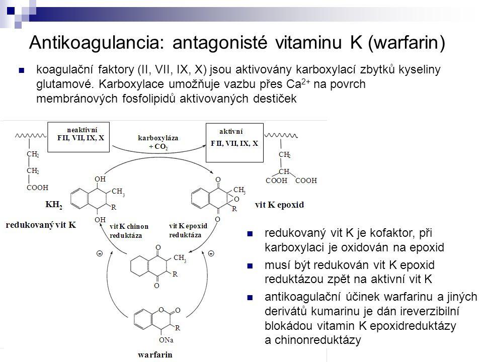Antikoagulancia: antagonisté vitaminu K (warfarin) koagulační faktory (II, VII, IX, X) jsou aktivovány karboxylací zbytků kyseliny glutamové.