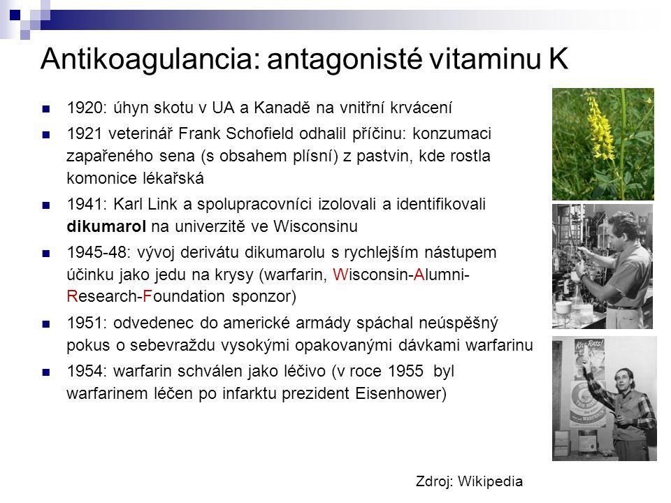 Antikoagulancia: antagonisté vitaminu K 1920: úhyn skotu v UA a Kanadě na vnitřní krvácení 1921 veterinář Frank Schofield odhalil příčinu: konzumaci zapařeného sena (s obsahem plísní) z pastvin, kde rostla komonice lékařská 1941: Karl Link a spolupracovníci izolovali a identifikovali dikumarol na univerzitě ve Wisconsinu 1945-48: vývoj derivátu dikumarolu s rychlejším nástupem účinku jako jedu na krysy (warfarin, Wisconsin-Alumni- Research-Foundation sponzor) 1951: odvedenec do americké armády spáchal neúspěšný pokus o sebevraždu vysokými opakovanými dávkami warfarinu 1954: warfarin schválen jako léčivo (v roce 1955 byl warfarinem léčen po infarktu prezident Eisenhower) Zdroj: Wikipedia