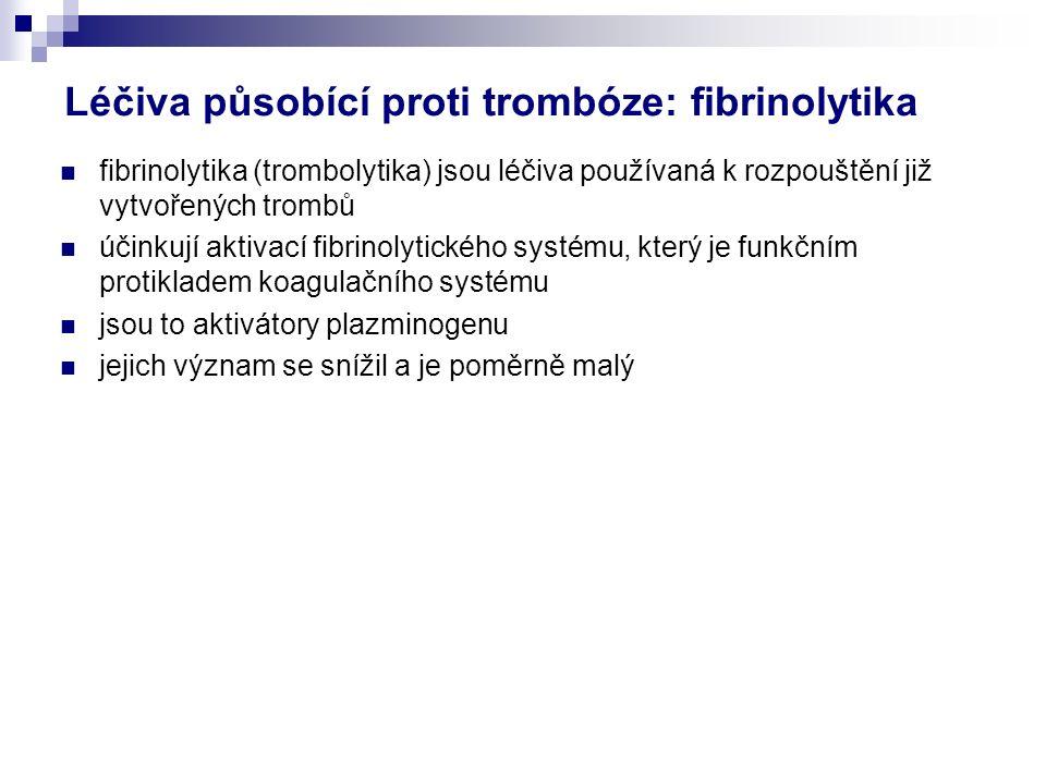 Léčiva působící proti trombóze: fibrinolytika fibrinolytika (trombolytika) jsou léčiva používaná k rozpouštění již vytvořených trombů účinkují aktivací fibrinolytického systému, který je funkčním protikladem koagulačního systému jsou to aktivátory plazminogenu jejich význam se snížil a je poměrně malý