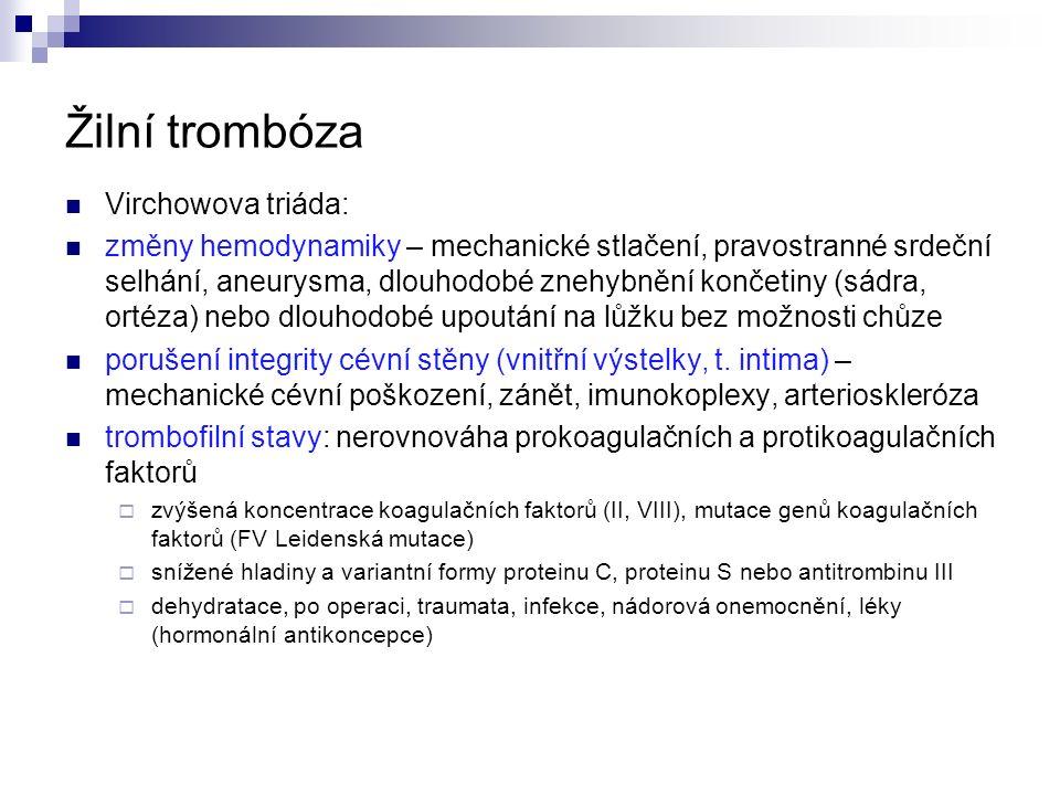 Žilní trombóza Virchowova triáda: změny hemodynamiky – mechanické stlačení, pravostranné srdeční selhání, aneurysma, dlouhodobé znehybnění končetiny (sádra, ortéza) nebo dlouhodobé upoutání na lůžku bez možnosti chůze porušení integrity cévní stěny (vnitřní výstelky, t.