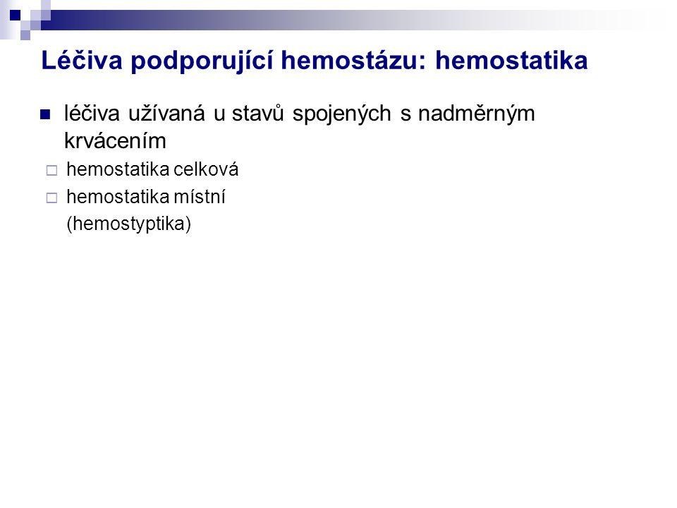 Léčiva podporující hemostázu: hemostatika léčiva užívaná u stavů spojených s nadměrným krvácením  hemostatika celková  hemostatika místní (hemostyptika)