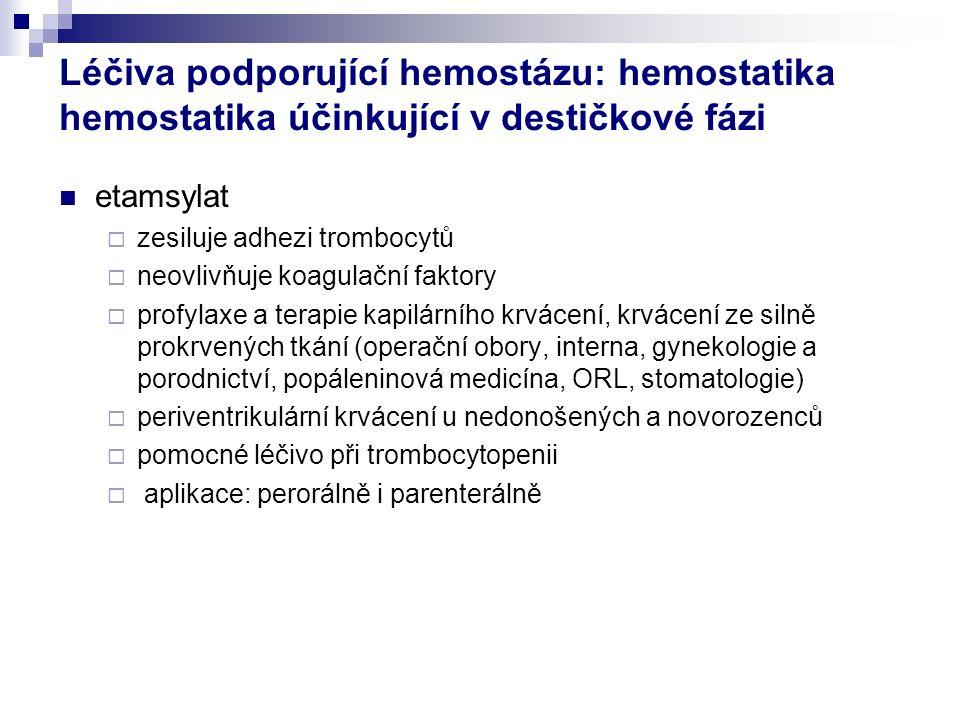 Léčiva podporující hemostázu: hemostatika hemostatika účinkující v destičkové fázi etamsylat  zesiluje adhezi trombocytů  neovlivňuje koagulační faktory  profylaxe a terapie kapilárního krvácení, krvácení ze silně prokrvených tkání (operační obory, interna, gynekologie a porodnictví, popáleninová medicína, ORL, stomatologie)  periventrikulární krvácení u nedonošených a novorozenců  pomocné léčivo při trombocytopenii  aplikace: perorálně i parenterálně