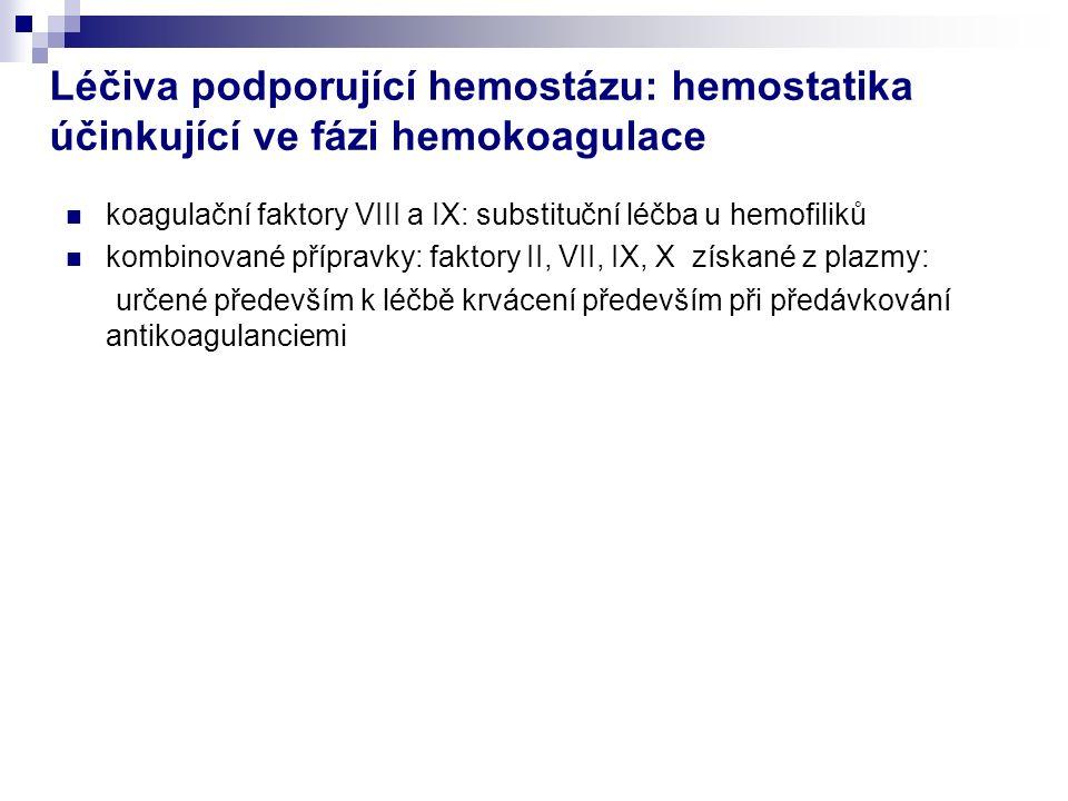 Léčiva podporující hemostázu: hemostatika účinkující ve fázi hemokoagulace koagulační faktory VIII a IX: substituční léčba u hemofiliků kombinované přípravky: faktory II, VII, IX, X získané z plazmy: určené především k léčbě krvácení především při předávkování antikoagulanciemi
