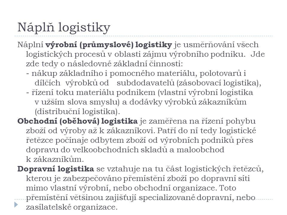 Náplň logistiky Náplní výrobní (průmyslové) logistiky je usměrňování všech logistických procesů v oblasti zájmu výrobního podniku.