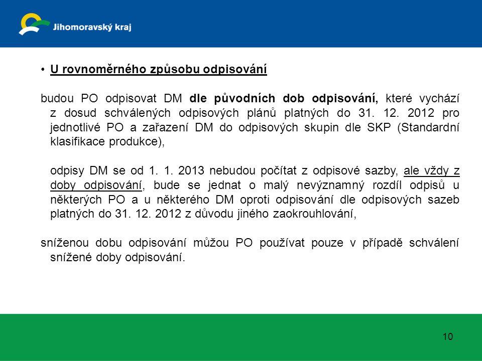 10 U rovnoměrného způsobu odpisování budou PO odpisovat DM dle původních dob odpisování, které vychází z dosud schválených odpisových plánů platných do 31.