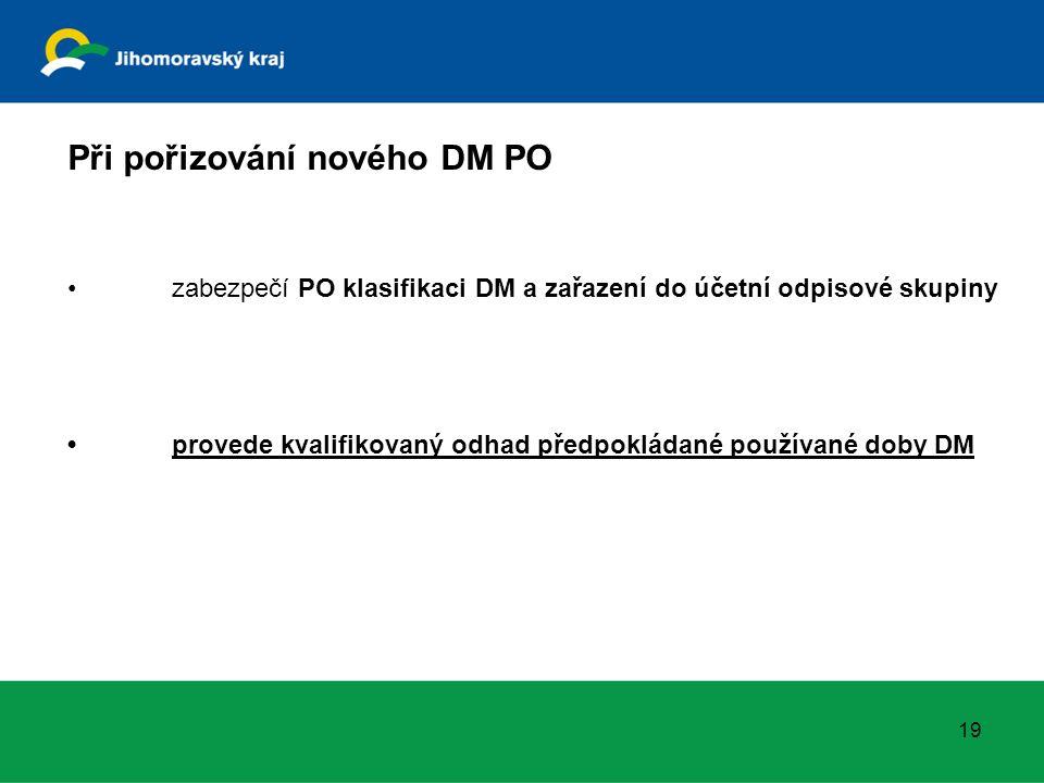 19 Při pořizování nového DM PO zabezpečí PO klasifikaci DM a zařazení do účetní odpisové skupiny provede kvalifikovaný odhad předpokládané používané doby DM