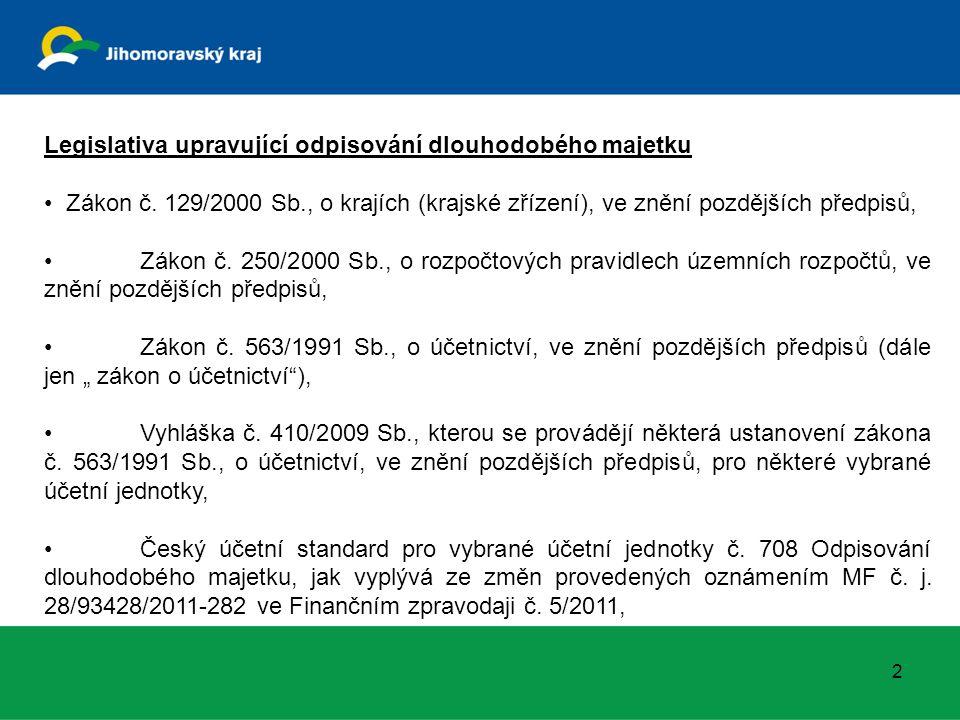 2 Legislativa upravující odpisování dlouhodobého majetku Zákon č.