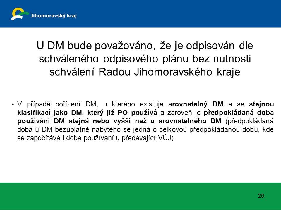 20 V případě pořízení DM, u kterého existuje srovnatelný DM a se stejnou klasifikací jako DM, který již PO používá a zároveň je předpokládaná doba používání DM stejná nebo vyšší než u srovnatelného DM (předpokládaná doba u DM bezúplatně nabytého se jedná o celkovou předpokládanou dobu, kde se započítává i doba používaní u předávající VÚJ) U DM bude považováno, že je odpisován dle schváleného odpisového plánu bez nutnosti schválení Radou Jihomoravského kraje