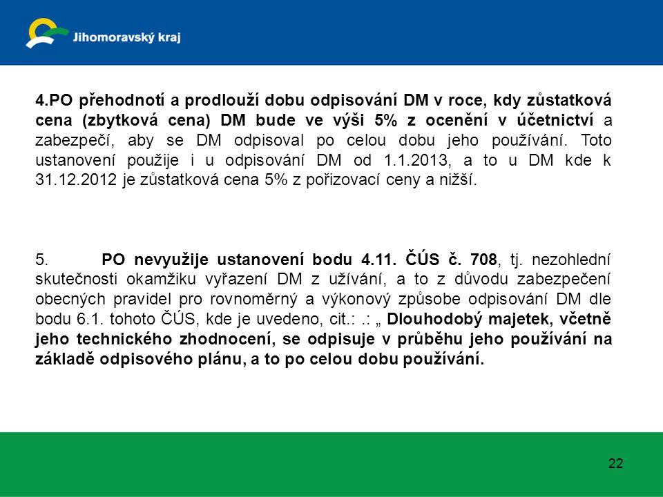22 4.PO přehodnotí a prodlouží dobu odpisování DM v roce, kdy zůstatková cena (zbytková cena) DM bude ve výši 5% z ocenění v účetnictví a zabezpečí, aby se DM odpisoval po celou dobu jeho používání.
