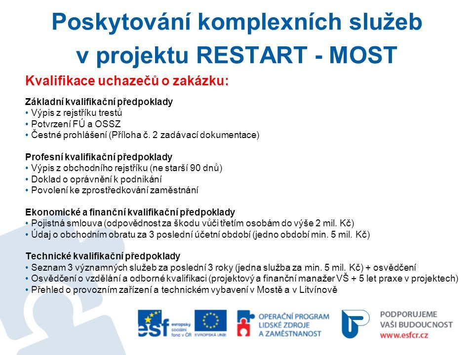 Poskytování komplexních služeb v projektu RESTART - MOST Kvalifikace uchazečů o zakázku: Základní kvalifikační předpoklady Výpis z rejstříku trestů Potvrzení FÚ a OSSZ Čestné prohlášení (Příloha č.